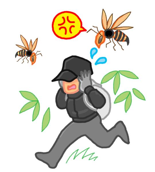 スズメバチから逃げる人