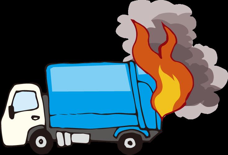 火のついたゴミ収集車