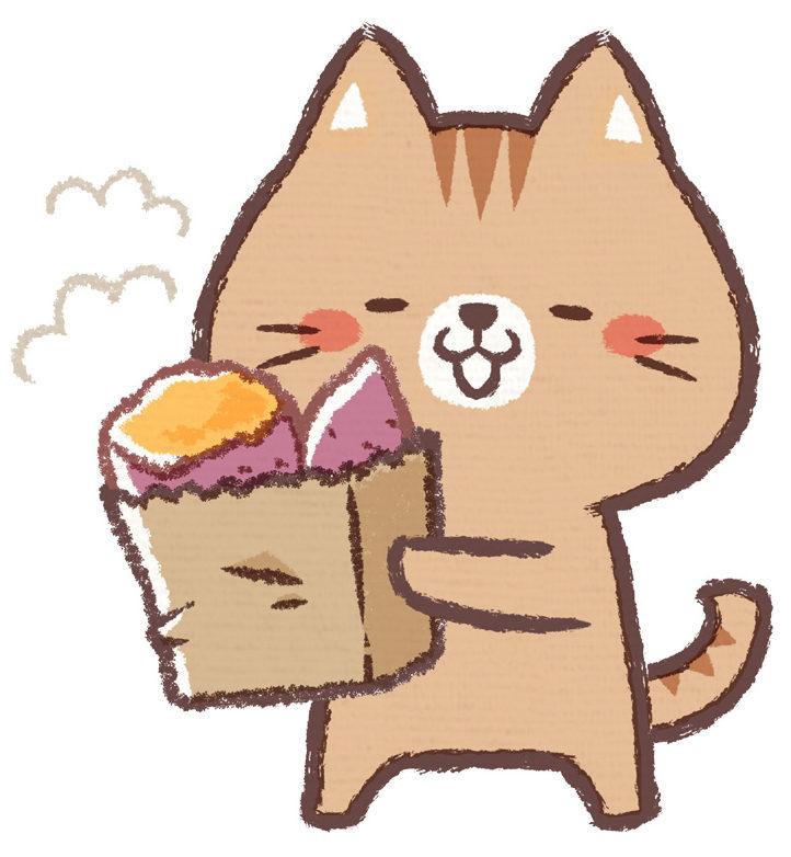 焼き芋を抱えた猫