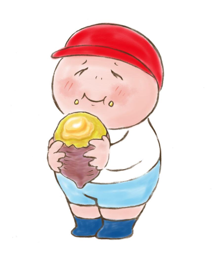 焼き芋を持った少年
