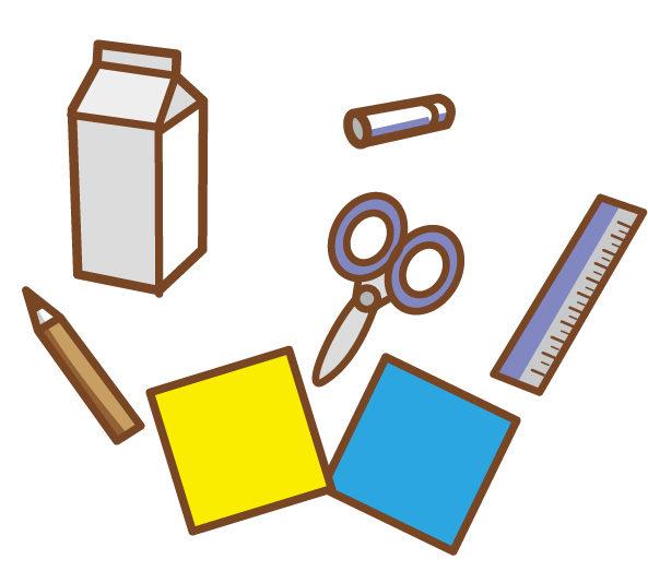 牛乳パックと工作道具